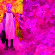 Mädchen, 62,5 x 105 cm, Dig. Foto, Hinterglasmalere jpg Kopie