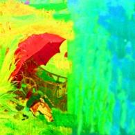 Red Umbrella, 100 x 200 cm Dig. Foto Hinterglasmalereijpg Kopie
